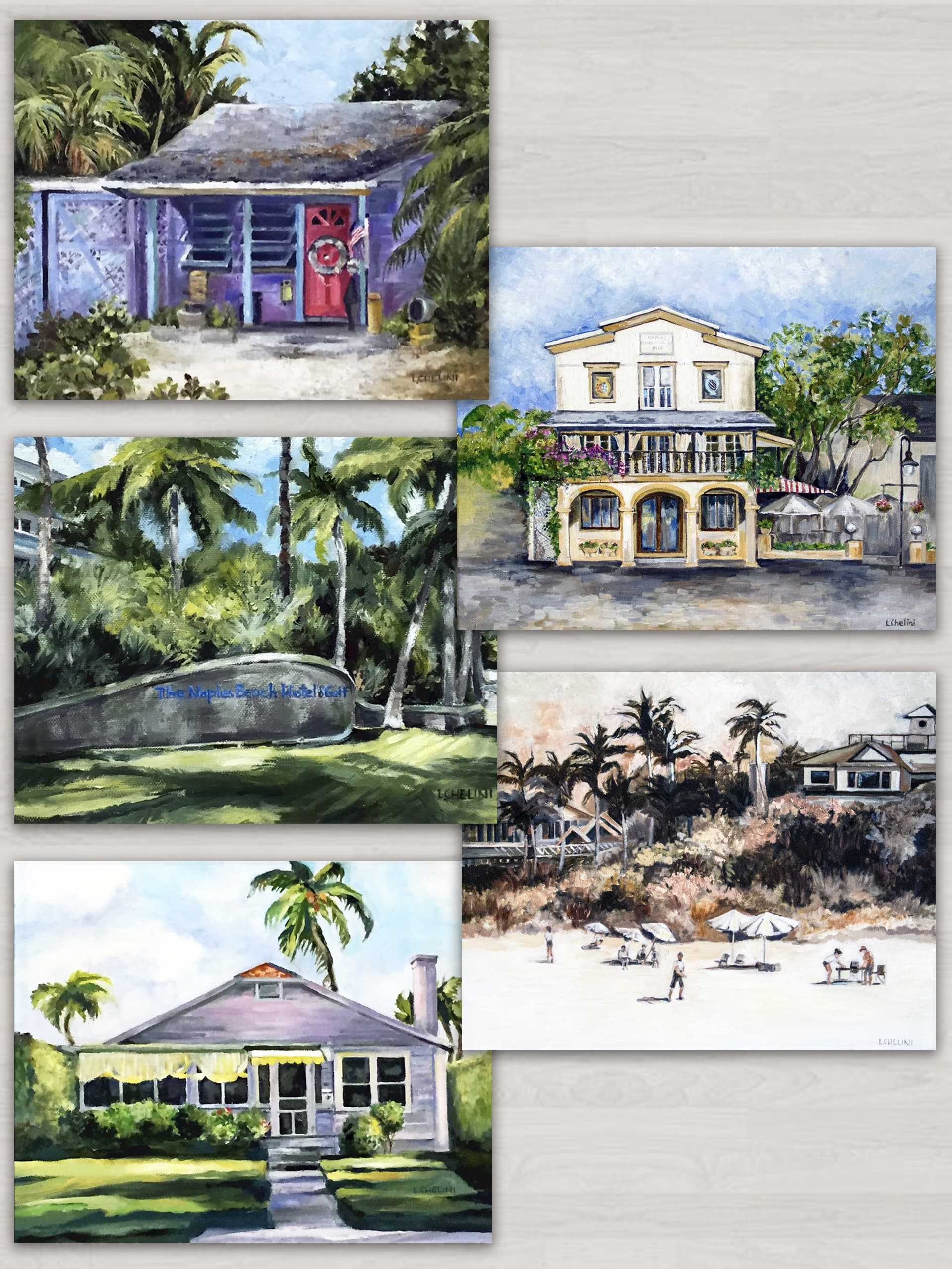 Beneath the Palms 5 notecard set by Laura Chelini