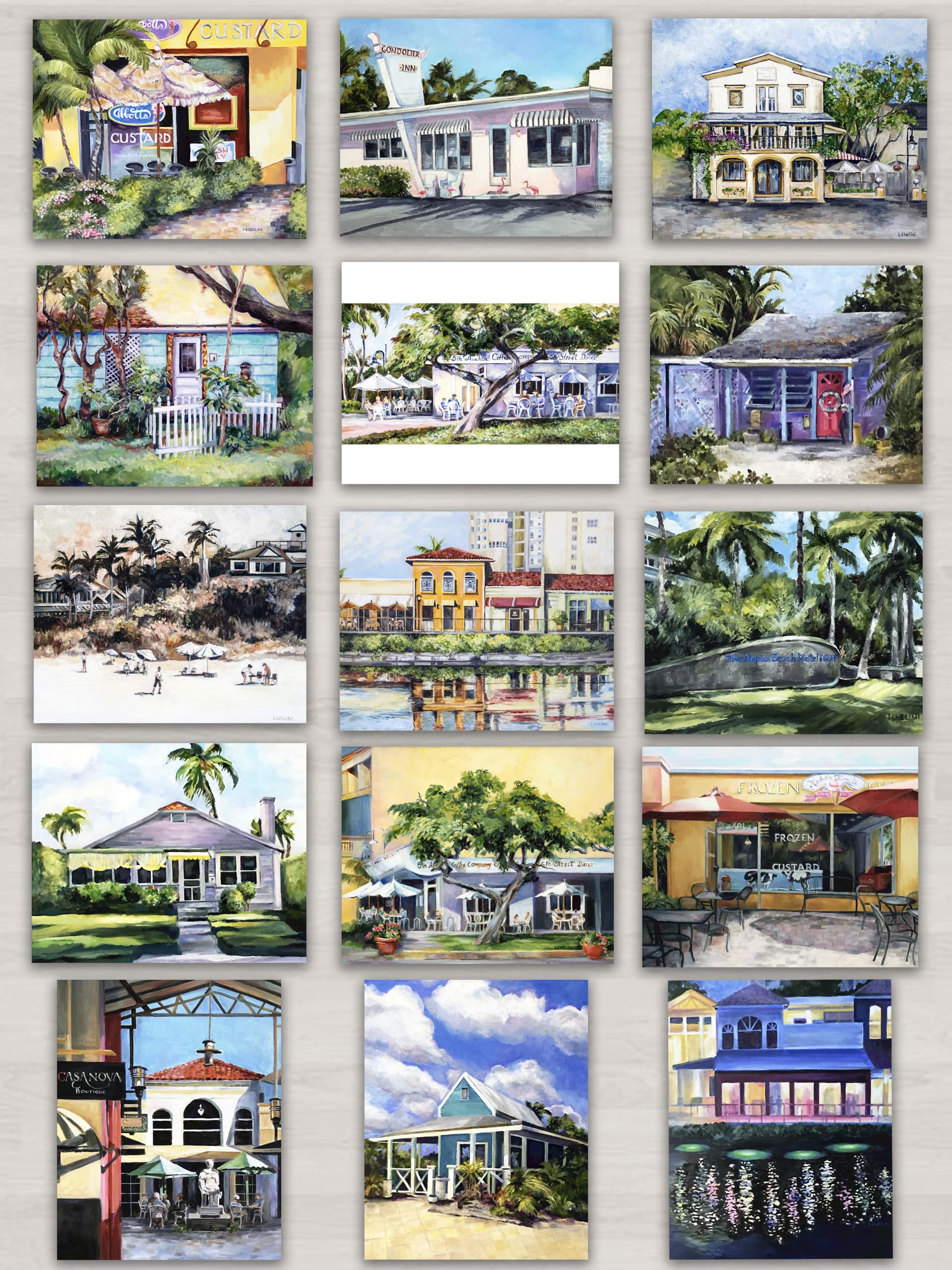 prints of original oils by laura chelini, naples florida, series 3