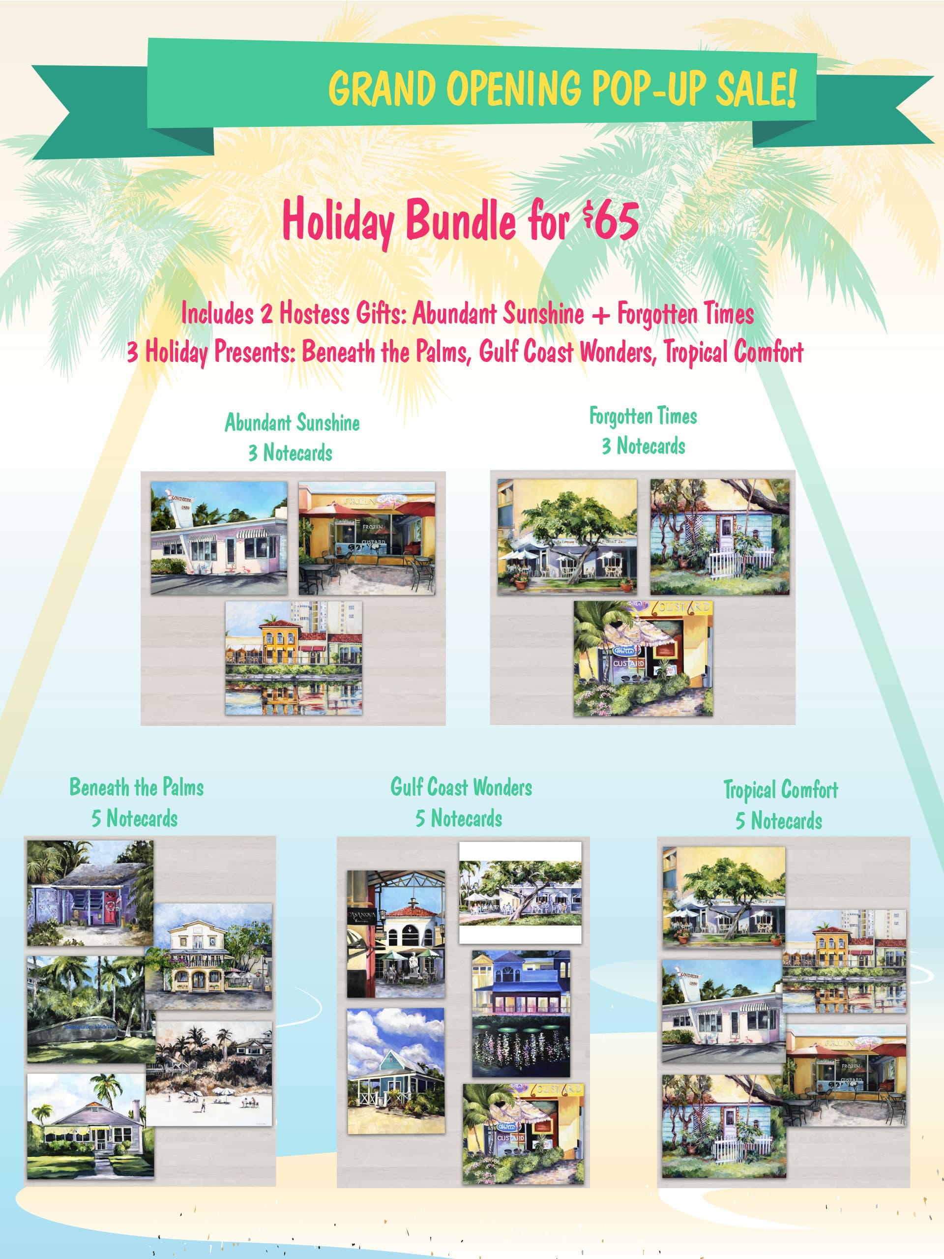 grand opening pop up sale holiday bundle laura chelini notecards